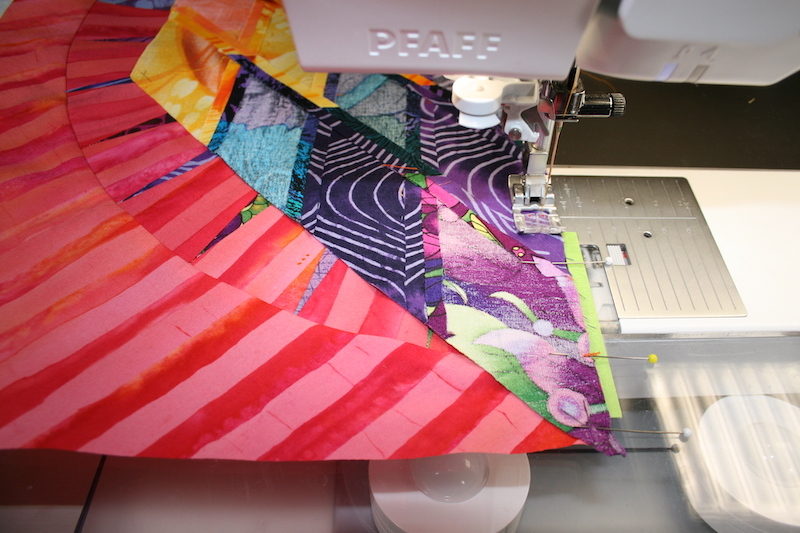 Sewing spiral segments together