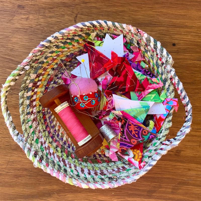 Fabric twine bowl and sewing notions