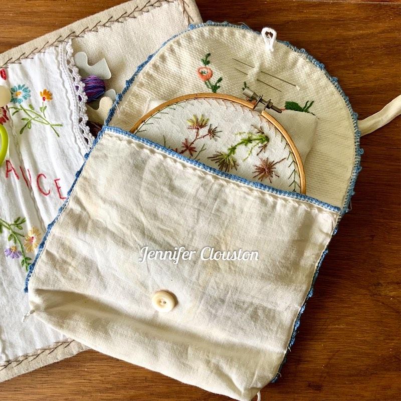 Repurpose vintage linen embroidery hoop bag