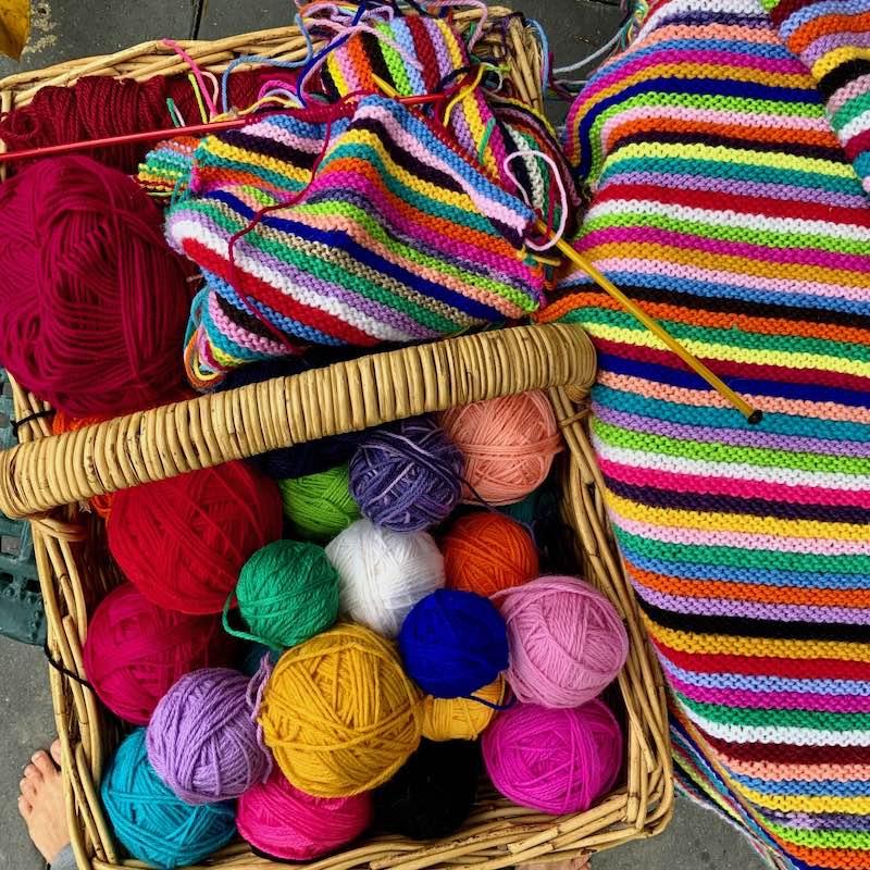 yarn and blanket in progress