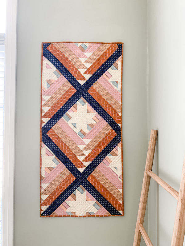 Peach and blue quilt