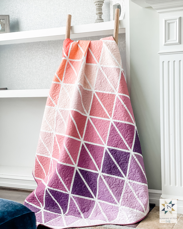 Peach and purple quilt