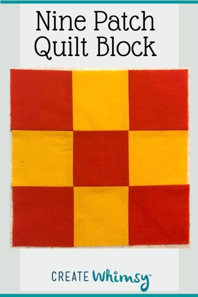 Nine Patch Quilt Block Pin 1