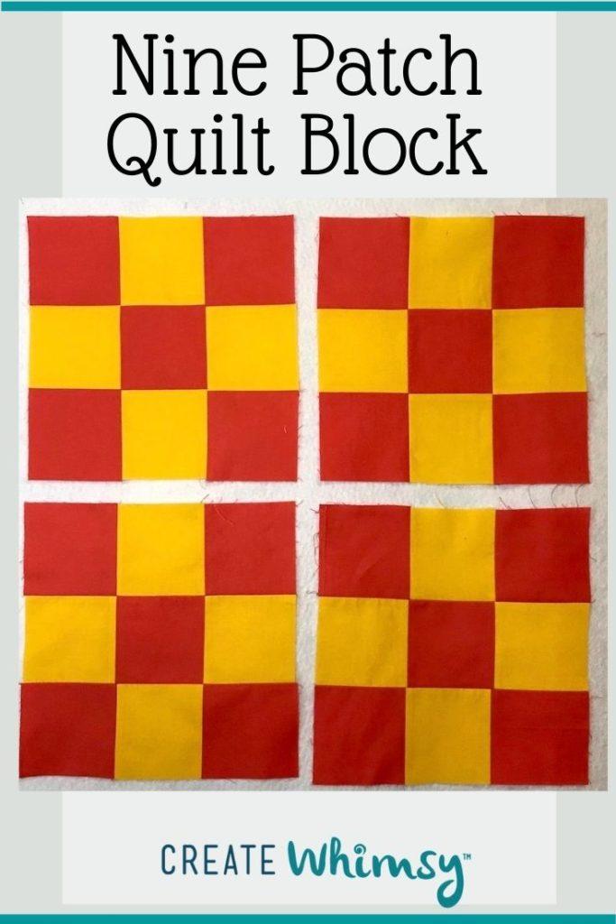 Nine Patch Quilt Block Pin 2
