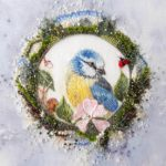 Bird and lady bug embroidery
