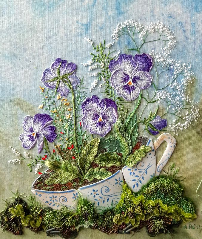 Pansy in tea cup embroidery