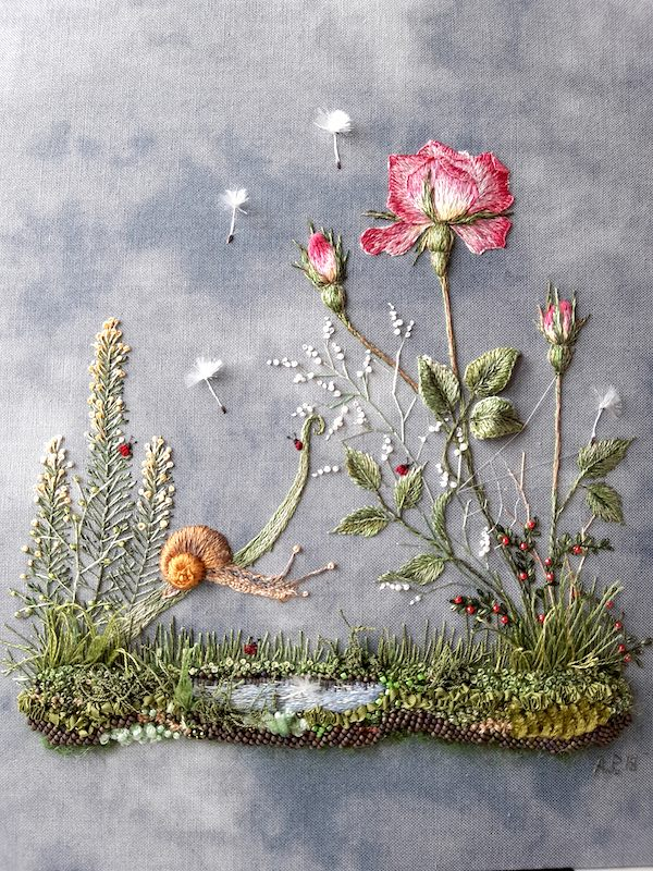 Embroidery flower and snail 2