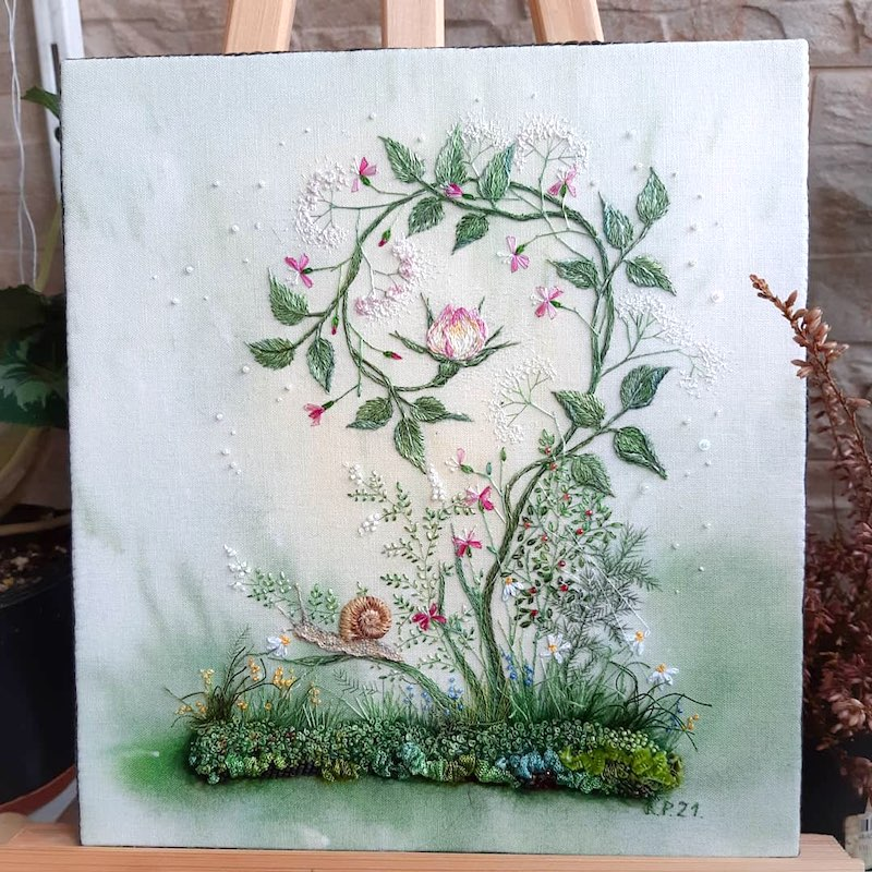 embroidered vine with roses and snail