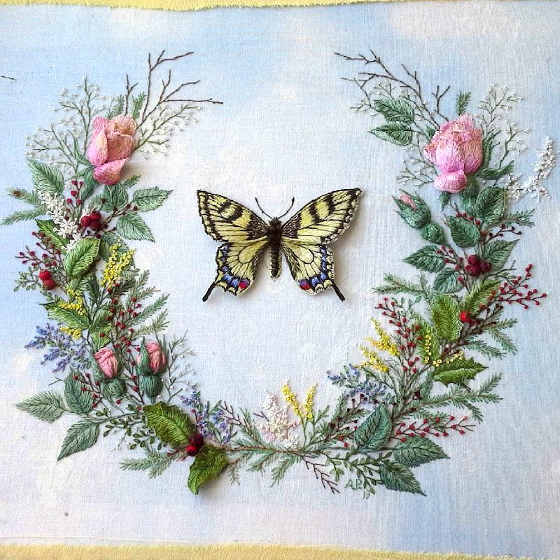 butterfly and flower wreath embroidery