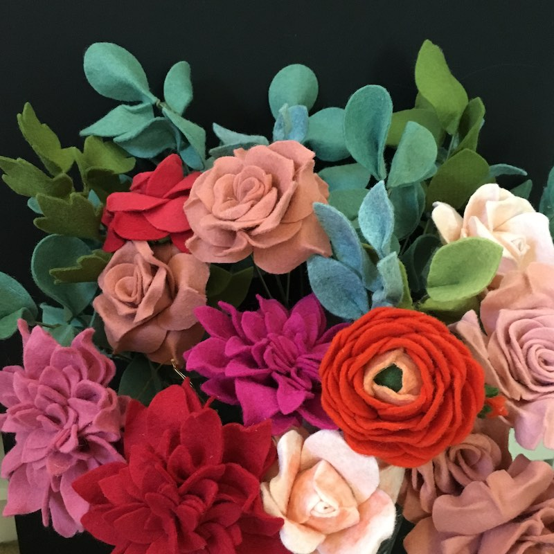 Red and pink felt flower bouquet