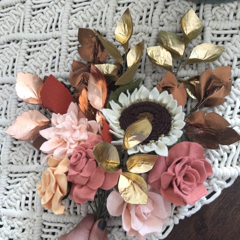 Pink felt flower bouquet