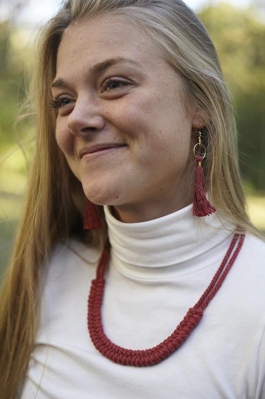 Macrame necklace and tassel earrings