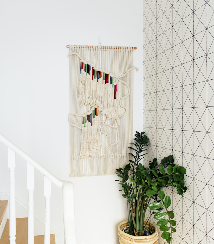 Woven macrame wall hanging