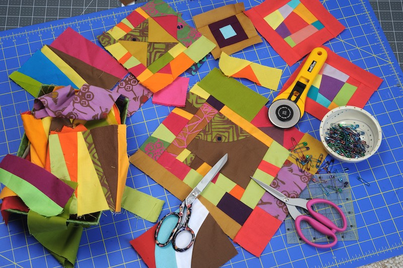 Sewing scraps together