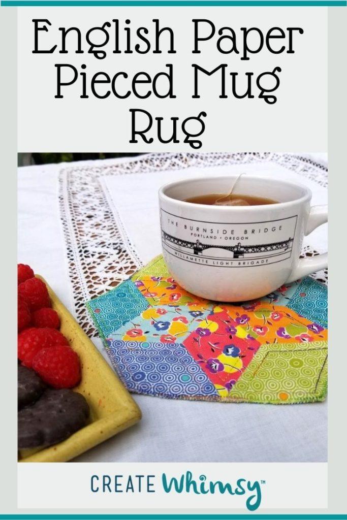 English Paper Pieced Mug Rug Pinterest Image 1