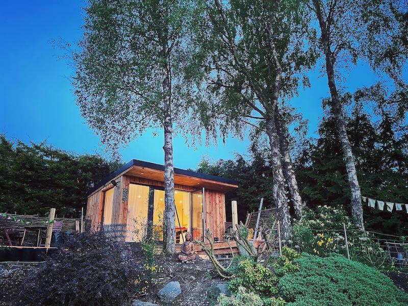 Moy's garden studio in the early summer