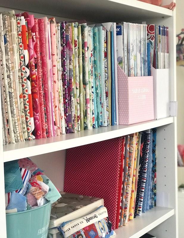 Sarah's fabric on her shelf