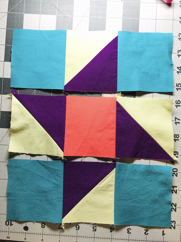 Simplex Star Quilt Block rows ready to sew together