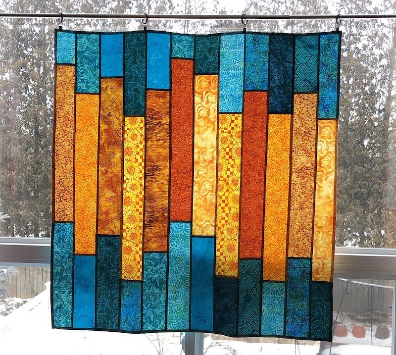 Finished pojagi window hanging