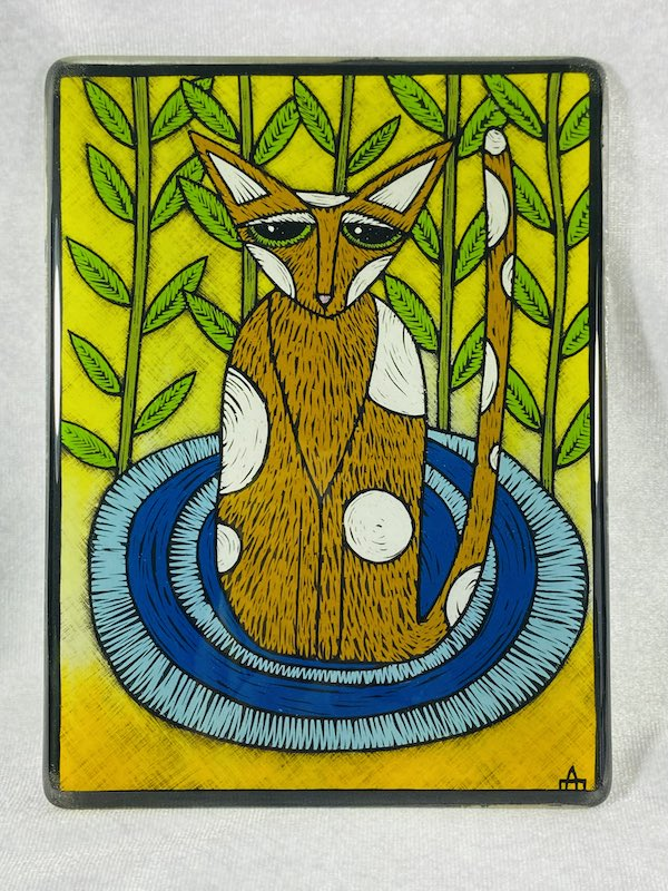 Cat on a mat glass art