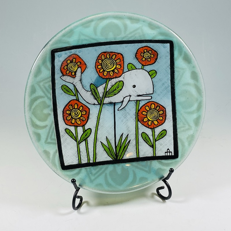 Whale and flowers glass plate
