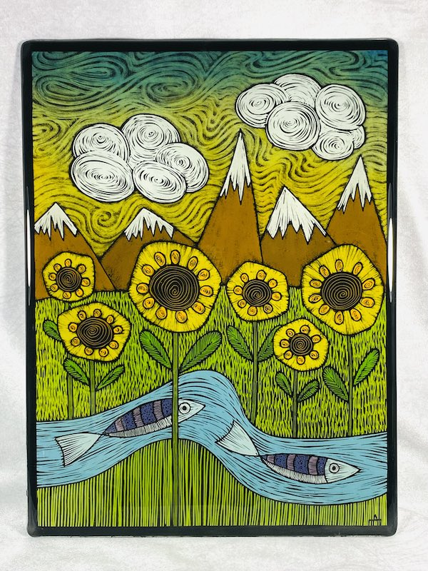 Sunflower landscape with fish and mountains glass art