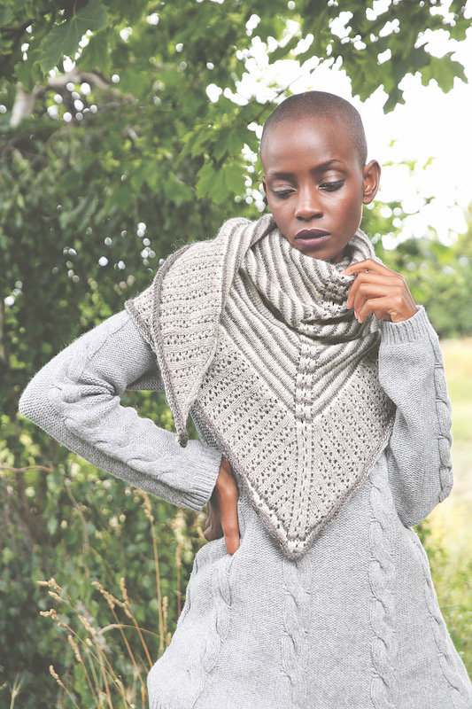 Grey and white knitted shawl