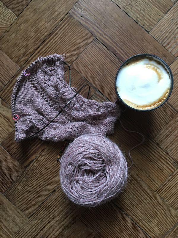 Knitting in lavender with coffee