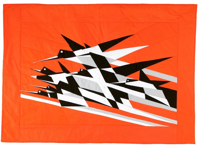 Bauhaus Birds in the Air quilt by Frances Dowell