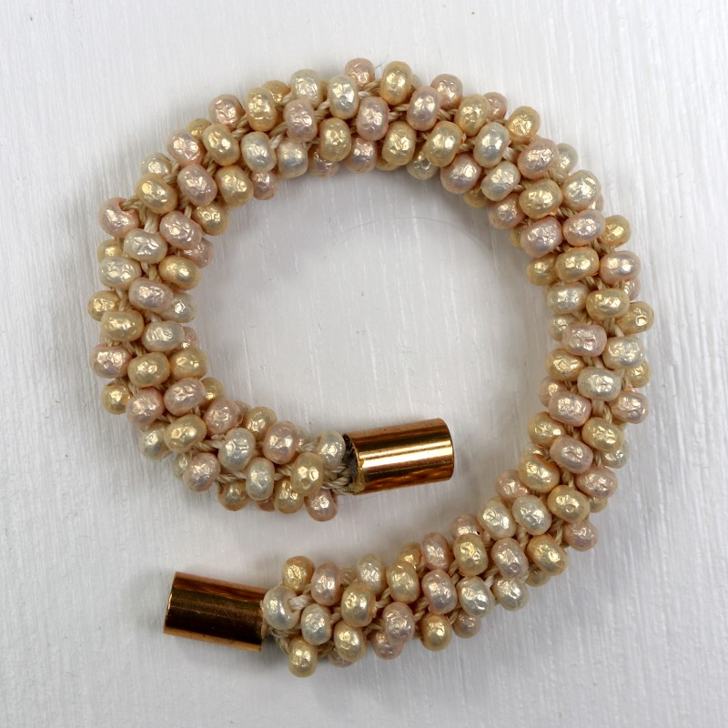 Make a Kumihimo Bracelet with Pearlized Beads Open