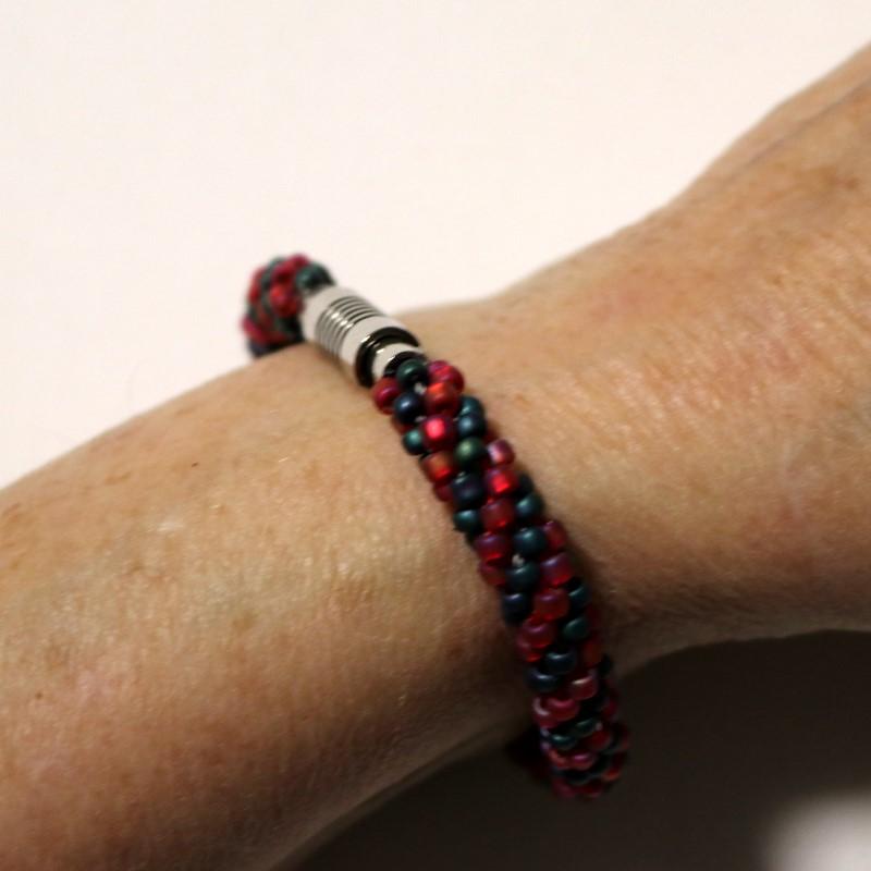 Make Kumihimo Bracelet Finished Showing Clasp