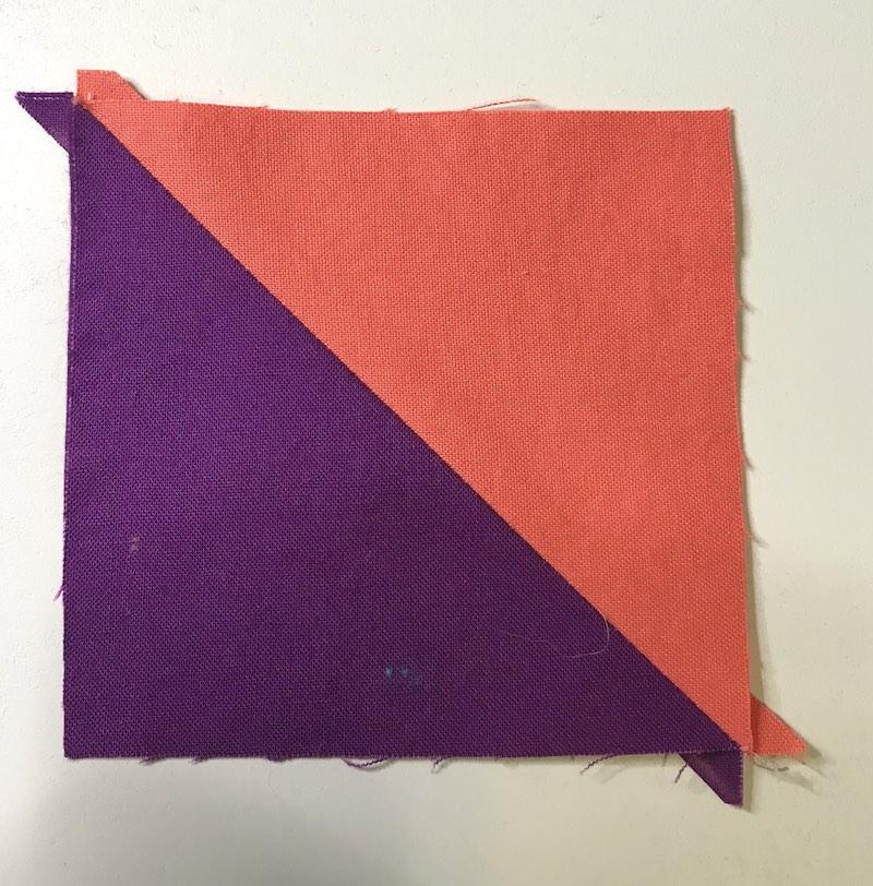 Half square triangle sewn for Simplex Star quilt block