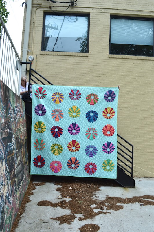 Blue and multicolor quilt