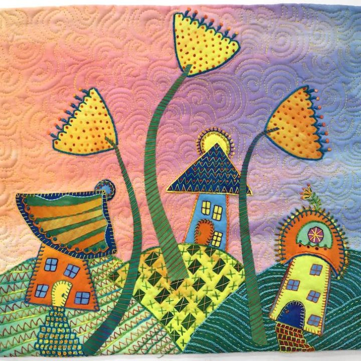 Three houses and flowers by Laura Wasilowski
