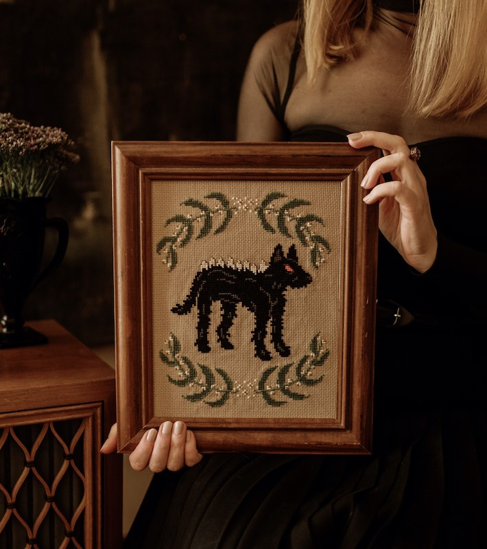 Werewolf creepy cross-stitch